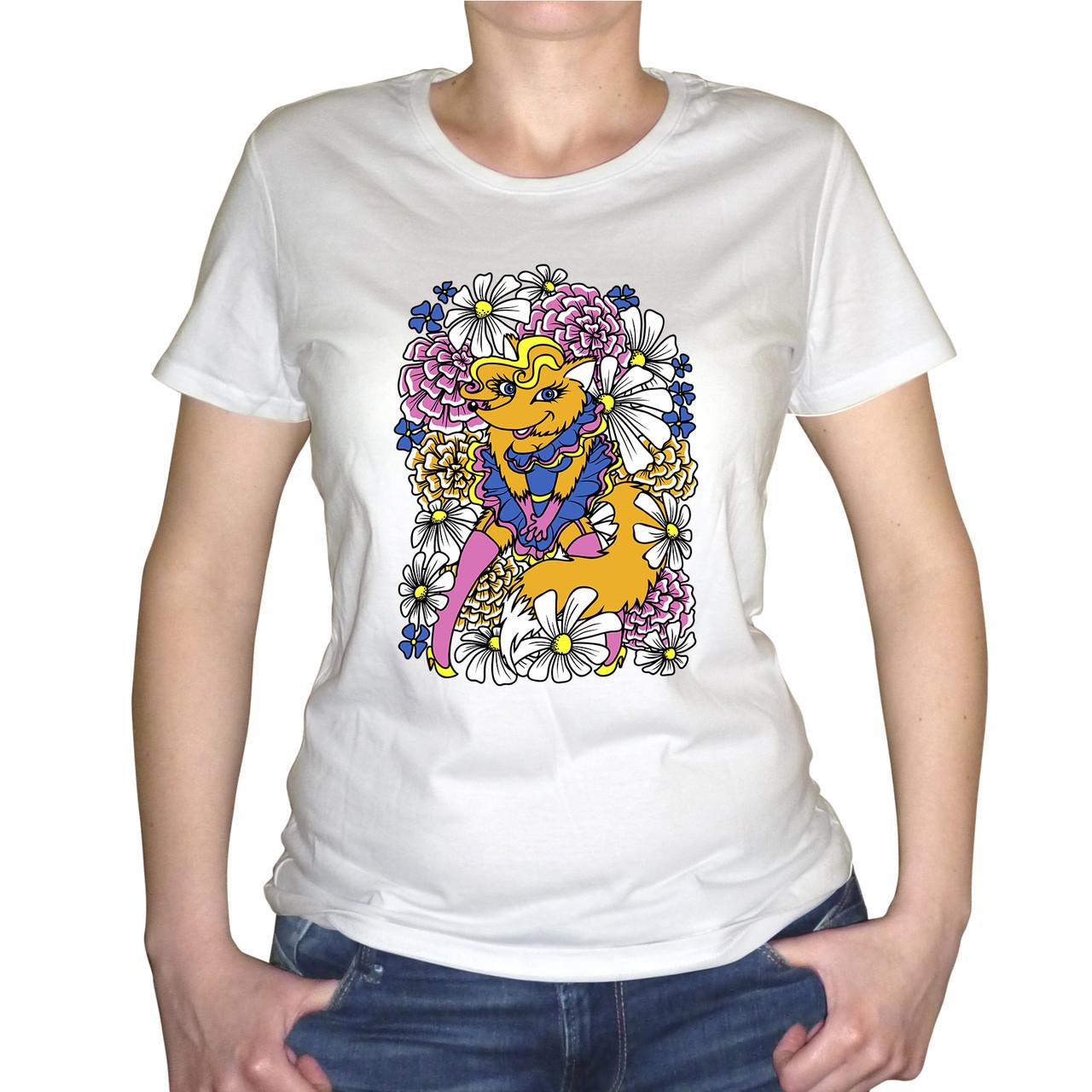 """Женская футболка """"Лиса в цветах """""""