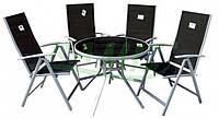 Набор садовой мебели: стол круглый 90 см стелко + 4 стульчика НАЛОЖКА