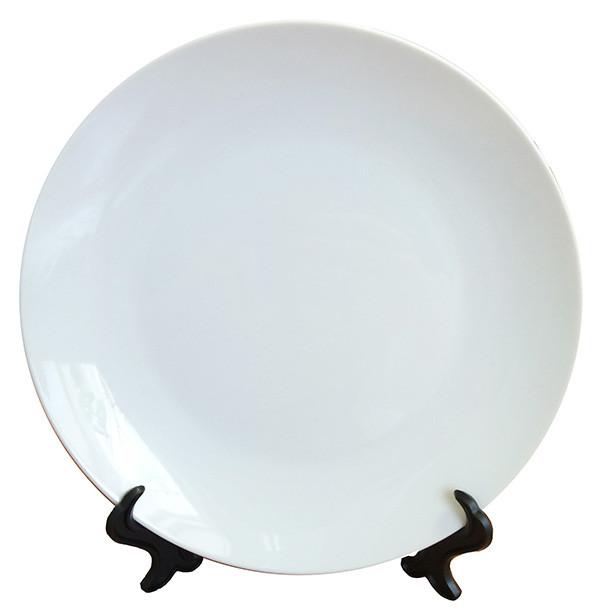 Тарелка для сублимации белая с подставкой 20 см 3D