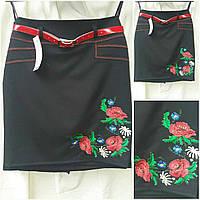 Черная юбка в национальном стиле с пояском, 36-44 р-ры, 255/195 (цена за 1 шт. + 60 гр)