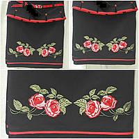 Девичья юбка баска с вышивкой гладью, черный, рост 122-146 см., 275/215 (цена за 1 шт. + 60 гр)