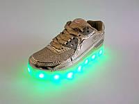 Кроссовки LED светящиеся с подзарядкой, дышащие на шнуровке