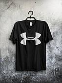Стильная футболка Under Armour Андер Армор черная (большой принт)