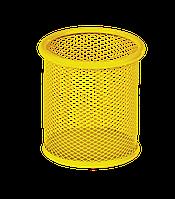 Підставка для ручок кругла 90х90х100мм, металева, жовтий