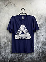 Мужская футболка Palace Палас темно синяя (большой принт)