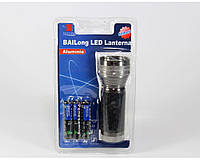 Фонарик ручной Bailong BL A103-9C алюминиевый + батарейки