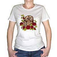 """Женская футболка """"Совенок в розах"""""""