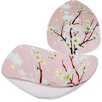 Салатник стекло 3-угольный Цветущая сакура 20 см SNT 395-1