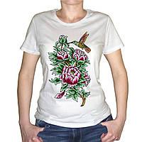 """Женская футболка """"Цветы и колибри"""""""