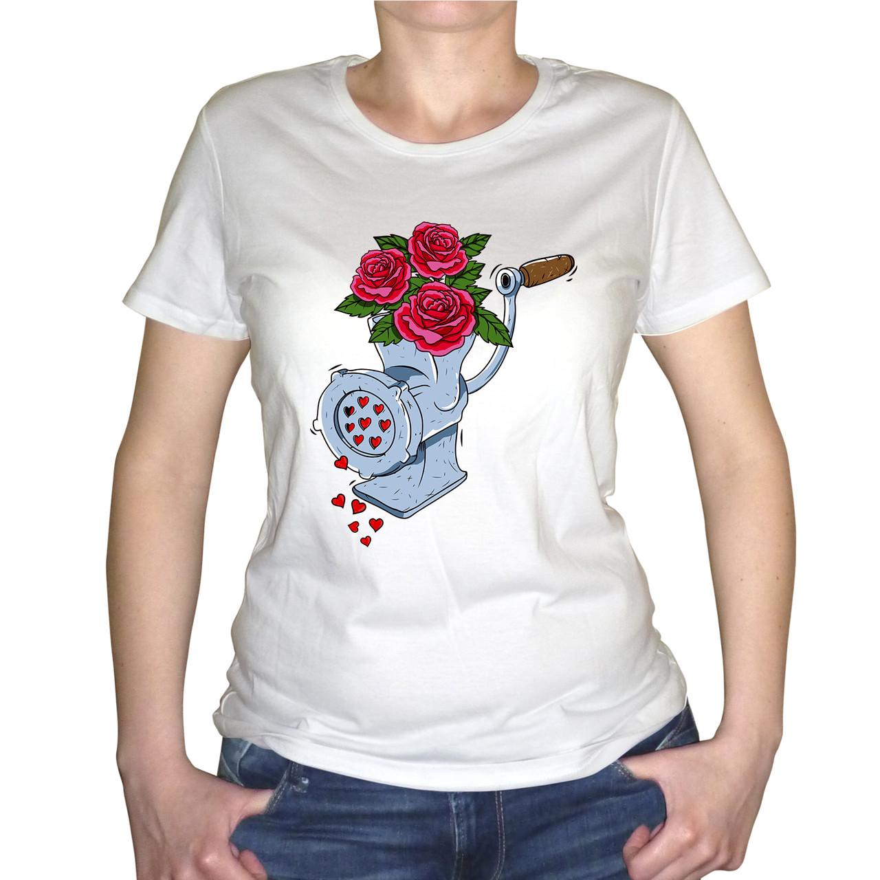 """Женская футболка """"Цветы в мясорубке"""""""