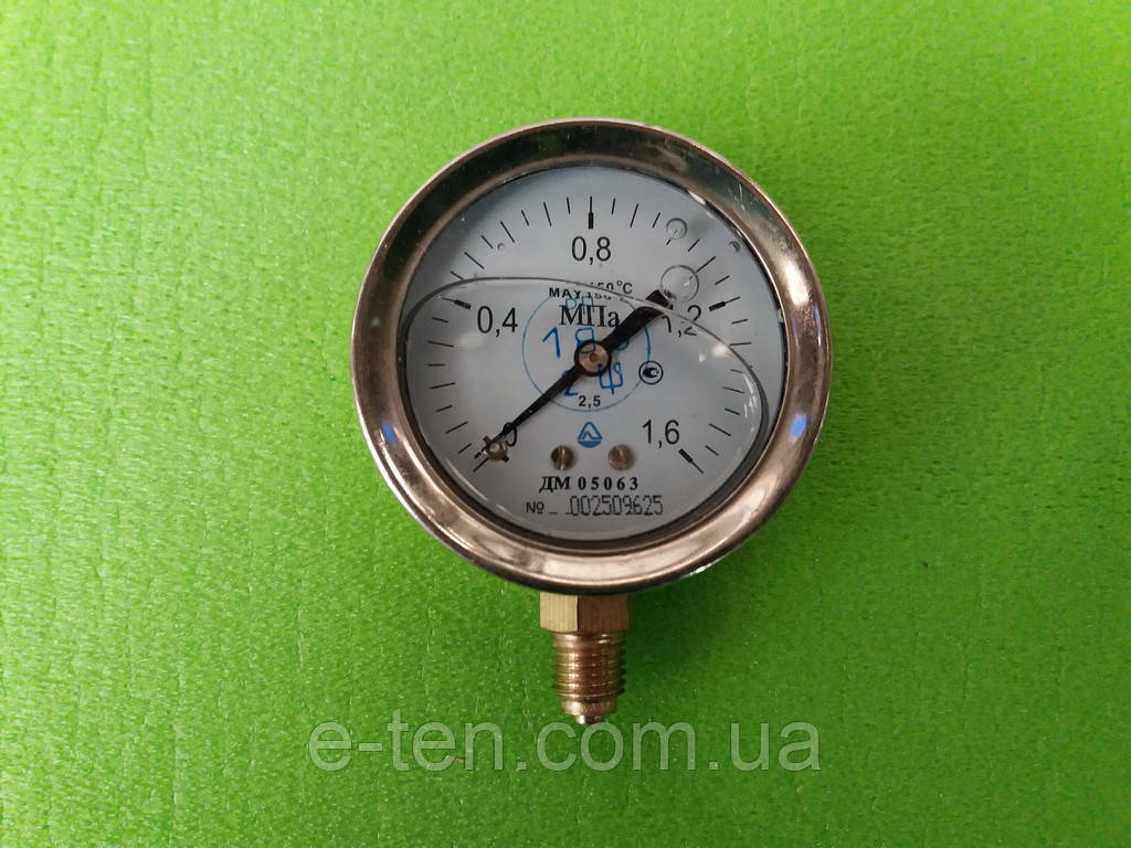 Манометр глицериновый,Ø 63 мм ДМ 05063  от  0 - 1,6 МПа (16 атмосфер)
