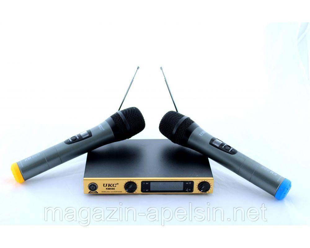 """Микрофон DM UKC-688, динамический, беспроводной, jack 6.3 мм, до 80 метров, набор микрофонов - интернет-магазин """"Апельсин"""" в Одессе"""