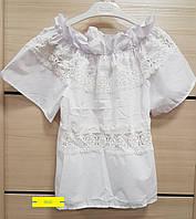 Блузка с кружевами белая 8846