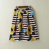 Стильная женская пышная юбка миди в полоску с цветами