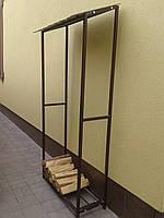 Дровница одинарная металлическая для дров разборная с крышей, фото 1