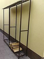 Дровница двойная металлическая для дров разборная с крышей