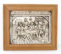 Картина настенная в раме, под олово,  Германия, трактирный сюжет, фото 1