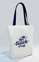 """Женская сумка """"Beach"""" Б386 - белая с синими ручками"""