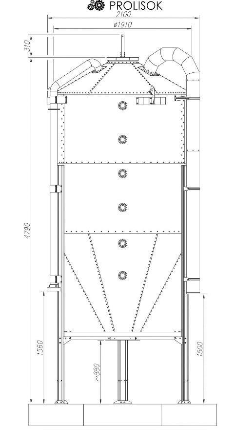 Бункер для кормов 5,8 т, 7.7 м3
