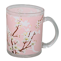 Чашка стеклянная 325 мл. с рисунком Цветущая сакура SNT 930-1
