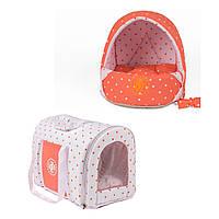 Сумка переноска и лежак для собак и котов Zoom Zoom Zoo Dots коралл