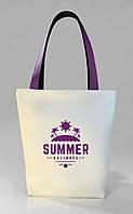 """Женская сумка """"Summer"""" Б389 - белая с фиолетовыми ручками"""