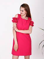Платье с рюшей на плечах - 1009