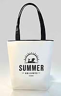 """Женская сумка """"Summer holiday"""" Б392 - белая с черными ручками"""