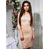 Платье женское короткое из гипюра на подкладке P6016