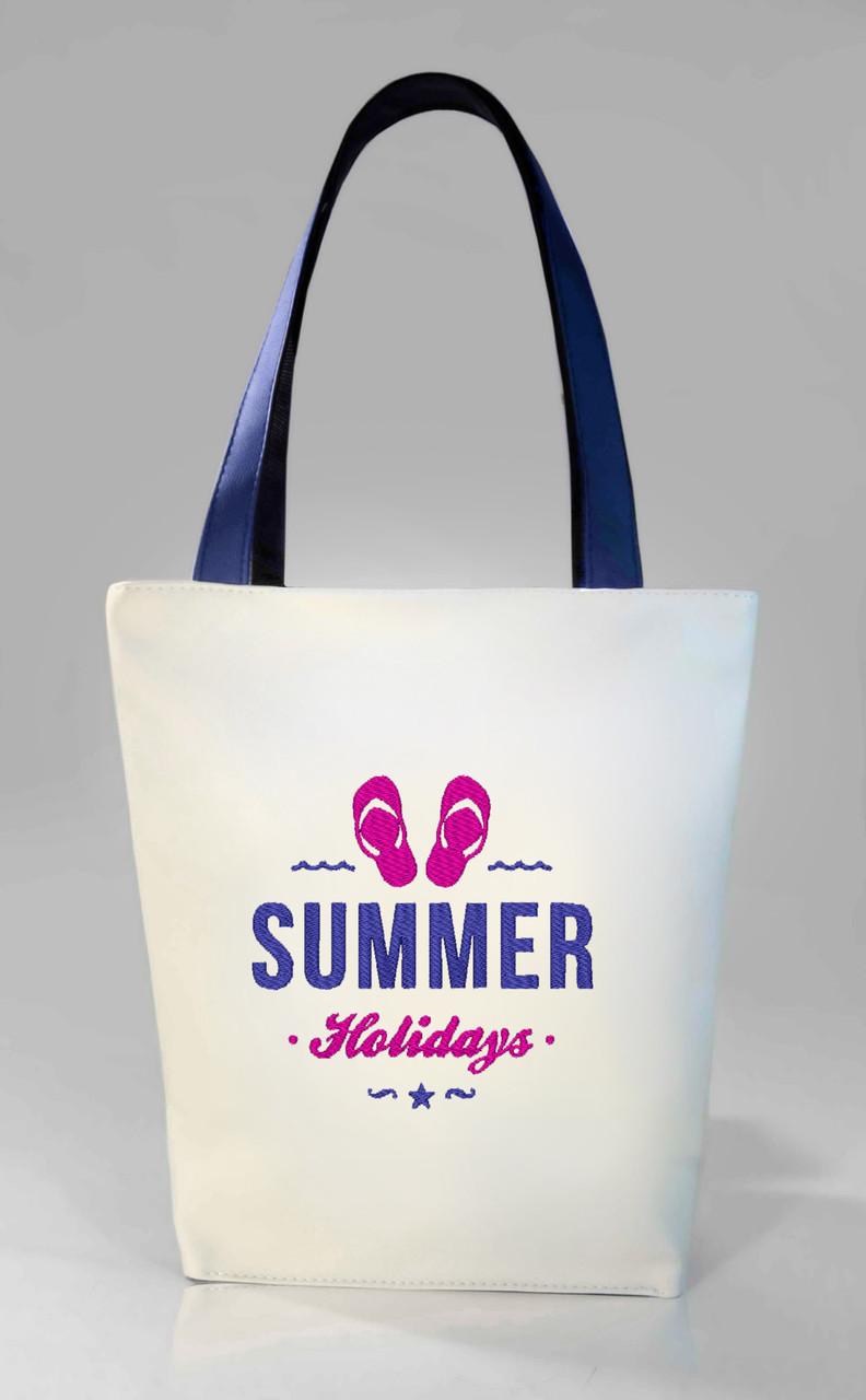 """Женская сумка """"Summer holiday"""" Б394 - белая с черными ручками"""