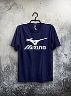 Мужская футболка Mizuno Мизуно темно синяя (большой принт)