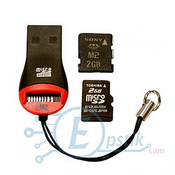 Кардридер USB 2.0, MicroSD/M2 (Card Reader microSD)