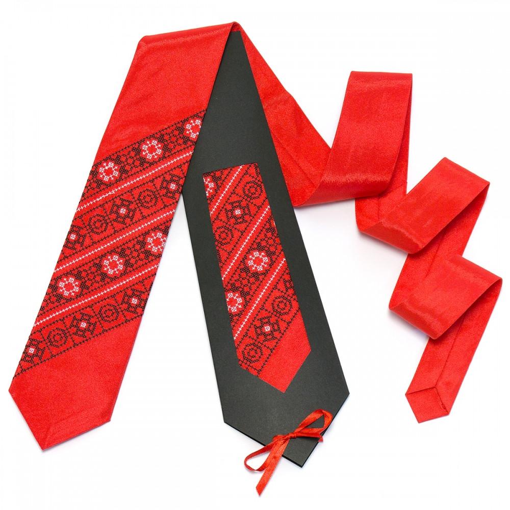 Червона чоловіча краватка з вишивкою Остап