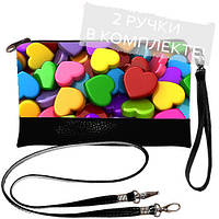 Женская сумка клатч с принтом Цветные сердца