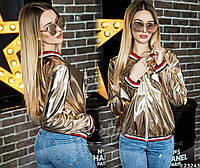 Курточка стильная из эко-кожи с карманами по бокам