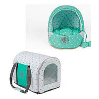 Сумка переноска и лежак для собак и котов Zoom Zoom Zoo Dots мята