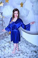Синий женский шелковый комплект с кружевом