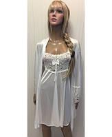 Женский белый шелковый комплект с кружевом