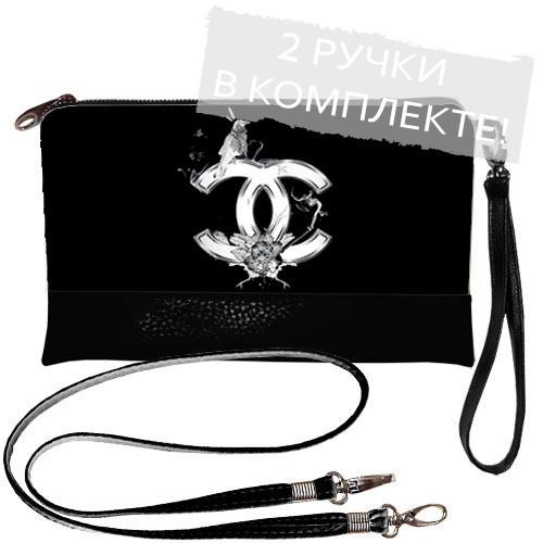 Клатч с принтом Шанель на черном - Вишиванки оптом и в розницу - «ОптИнвест» в Хмельницком