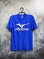 Синяя футболка Mizuno Мизуно (большой принт)