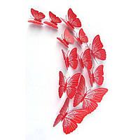 Бабочки 3Д красные с прожилками  декор наклейки магнит