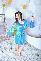Голубой шелковый комплект с кружевом