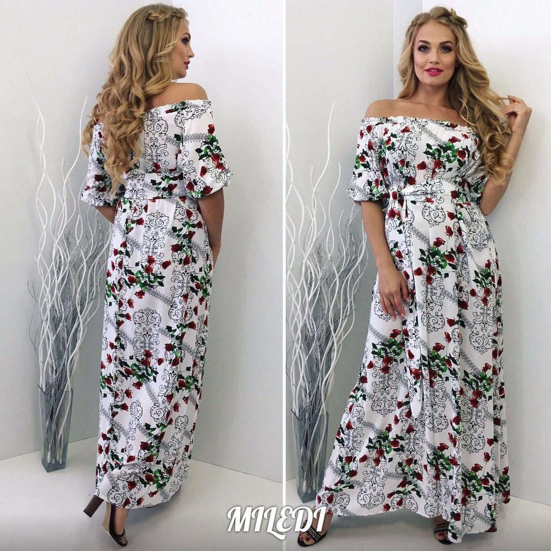 30f714a0013 Длинное летнее платье штапель в цветы размеры 48-50