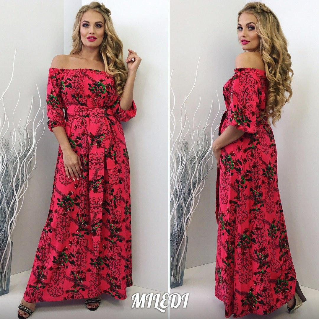 617bd14ba55 ... Длинное летнее платье штапель в цветы размеры 48-50