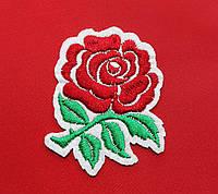 Аппликация (термо) роза красная на бел.осн. 6х5.5 см