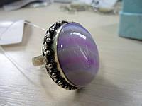 Кольцо с натуральным камнем ботсванский агат в серебре.