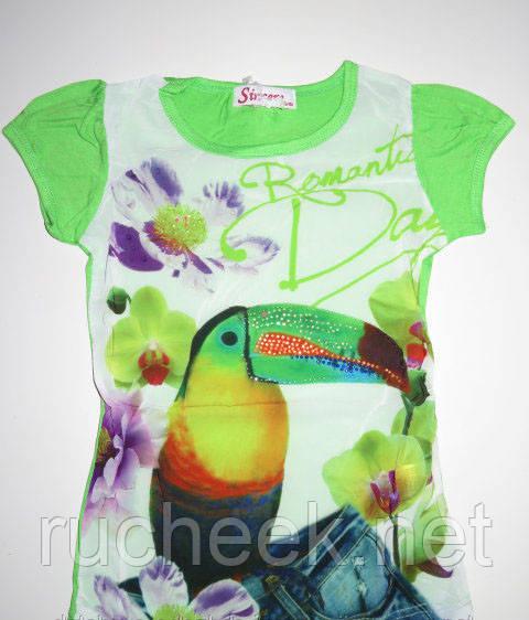 Оригинальная футболка для девочки с принтом попугай р-ры 98 -116, ТМ Sincere Венгрия