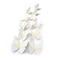 Бабочки 3Д белые с прожилками декор наклейки магнит