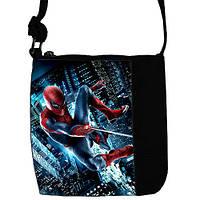Черная сумка для мальчика Little prince с принтом Спайдермен