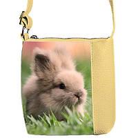 Бежевая сумка для девочки с принтом кролик